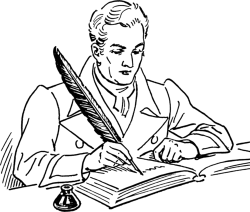 person writing with quill pen