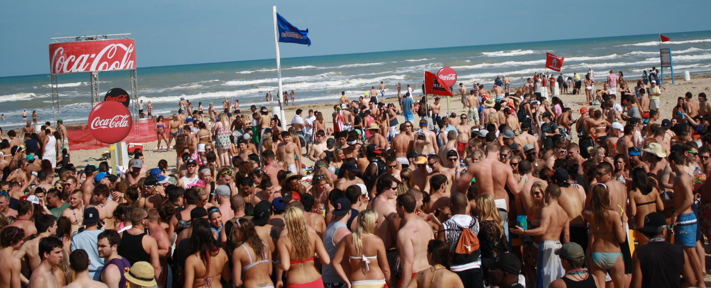 spring break in South Padre island, Texas.