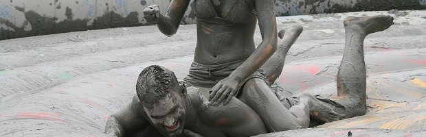 mudwrestling at a party