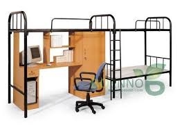 Raised dormitory bed to create space for learning